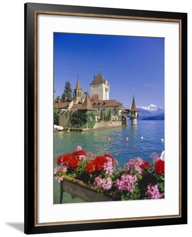 Lake Thun (Thunersee) and Oberhofen Castle, Bernese Oberland, Switzerland, Europe-Simon Harris-Framed Art Print