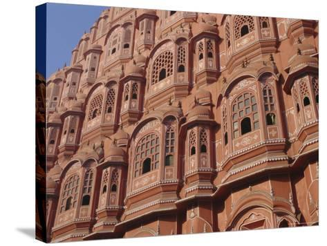 Hawa Mahal, Palace of Winds, Facade from Which Ladies in Purdah Looked Outside, Rajasthan, India-Hans Peter Merten-Stretched Canvas Print