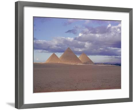Pyramid of Menkewre (Left), Pyramid of Chephren (Centre), Pyramid of Cheops (Right), Giza, Egypt-Walter Rawlings-Framed Art Print