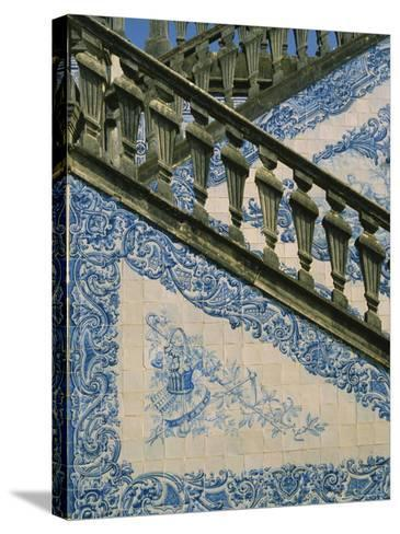 Detail of External Staircase Decorated with Azulejos (Tiles), Algarve, Portugal-Nedra Westwater-Stretched Canvas Print