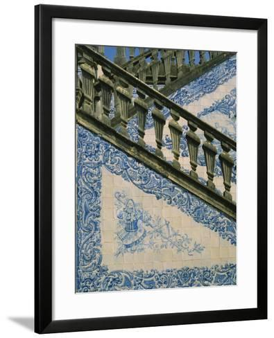 Detail of External Staircase Decorated with Azulejos (Tiles), Algarve, Portugal-Nedra Westwater-Framed Art Print
