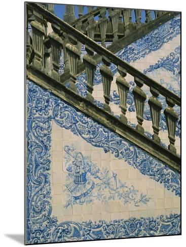 Detail of External Staircase Decorated with Azulejos (Tiles), Algarve, Portugal-Nedra Westwater-Mounted Photographic Print