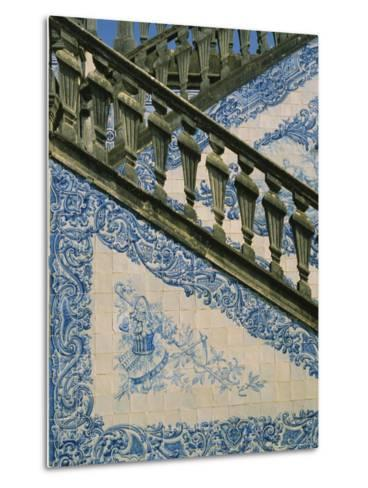 Detail of External Staircase Decorated with Azulejos (Tiles), Algarve, Portugal-Nedra Westwater-Metal Print