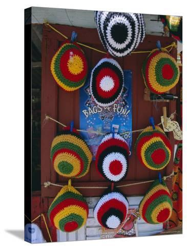Rasta (Rastafarian) Hats on Display, Tobago, Trinidad and Tobago, West Indies, Caribbean-Gavin Hellier-Stretched Canvas Print