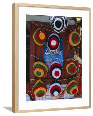 Rasta (Rastafarian) Hats on Display, Tobago, Trinidad and Tobago, West Indies, Caribbean-Gavin Hellier-Framed Art Print