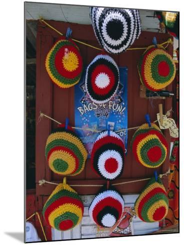 Rasta (Rastafarian) Hats on Display, Tobago, Trinidad and Tobago, West Indies, Caribbean-Gavin Hellier-Mounted Photographic Print