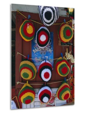 Rasta (Rastafarian) Hats on Display, Tobago, Trinidad and Tobago, West Indies, Caribbean-Gavin Hellier-Metal Print