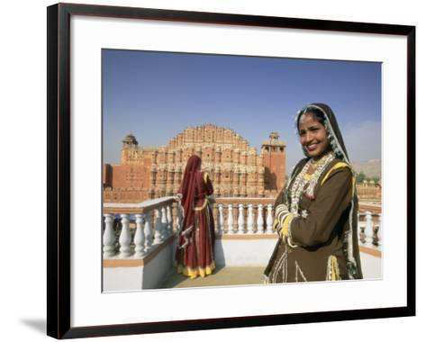 Women in Saris in Front of the Facade of the Palace of the Winds (Hawa Mahal), Jaipur, India-Gavin Hellier-Framed Art Print