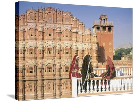 Women in Saris in Front of the Facade of the Palace of the Winds (Hawa Mahal), Jaipur, India-Gavin Hellier-Stretched Canvas Print