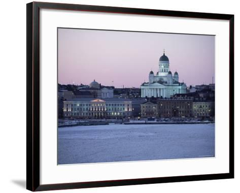 Dusk Light on Lutheran Christian Cathedral in Winter Snow, Across the Frozen Baltic Sea, Finland-Gavin Hellier-Framed Art Print