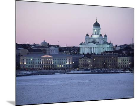 Dusk Light on Lutheran Christian Cathedral in Winter Snow, Across the Frozen Baltic Sea, Finland-Gavin Hellier-Mounted Photographic Print