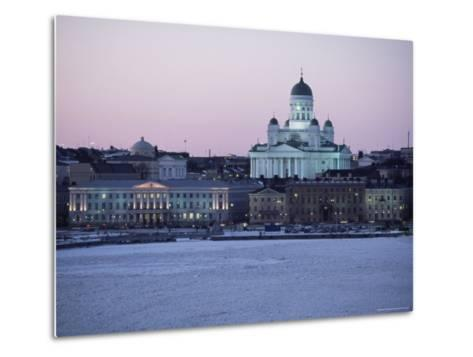 Dusk Light on Lutheran Christian Cathedral in Winter Snow, Across the Frozen Baltic Sea, Finland-Gavin Hellier-Metal Print