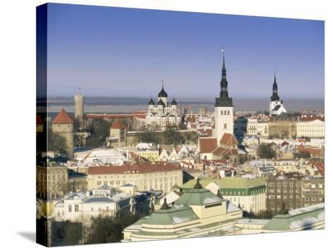 Elevated Winter View Over the Old Town Towards Alexander Nevsky Cathedral, Estonia, Baltic States-Gavin Hellier-Stretched Canvas Print