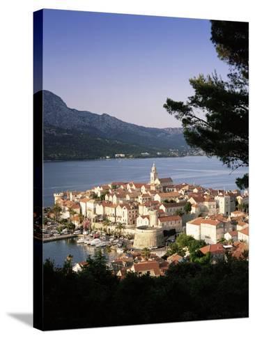 Elevated View of Korcula Town, Old Town of Korcula, Korcula Island, Dalmatian Coast, Croatia-Gavin Hellier-Stretched Canvas Print