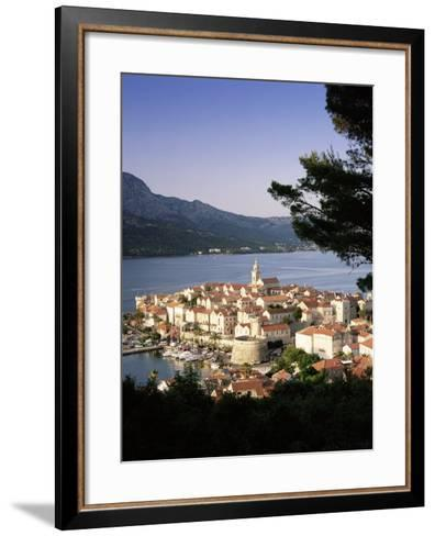 Elevated View of Korcula Town, Old Town of Korcula, Korcula Island, Dalmatian Coast, Croatia-Gavin Hellier-Framed Art Print