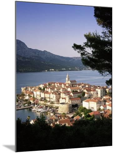 Elevated View of Korcula Town, Old Town of Korcula, Korcula Island, Dalmatian Coast, Croatia-Gavin Hellier-Mounted Photographic Print
