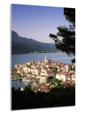 Elevated View of Korcula Town, Old Town of Korcula, Korcula Island, Dalmatian Coast, Croatia-Gavin Hellier-Metal Print