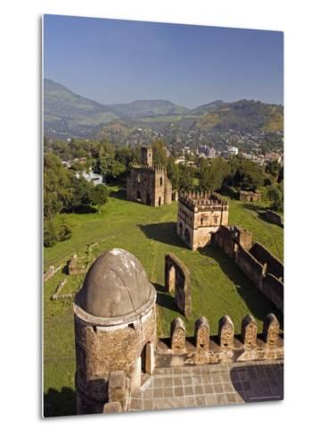 View Over Gonder and the Royal Enclosure from the Top of Fasiladas' Palace, Ethiopia-Gavin Hellier-Metal Print