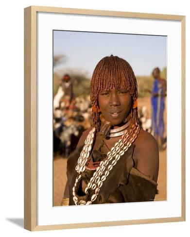 Portrait of a Young Hamer Woman with Goscha, Hamer Tribe, Southern Ethiopia-Gavin Hellier-Framed Art Print