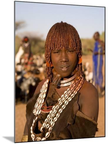 Portrait of a Young Hamer Woman with Goscha, Hamer Tribe, Southern Ethiopia-Gavin Hellier-Mounted Photographic Print
