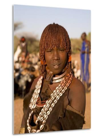 Portrait of a Young Hamer Woman with Goscha, Hamer Tribe, Southern Ethiopia-Gavin Hellier-Metal Print
