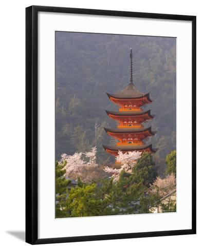 Cherry Blossoms (Sakura) and Famous Five-Storey Pagoda Dating from 1407, Island of Honshu, Japan-Gavin Hellier-Framed Art Print