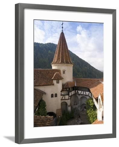 Detail of Courtyard and Turret, Bran Castle (Dracula's Castle), Bran, Saxon Land, Transylvania-Gavin Hellier-Framed Art Print