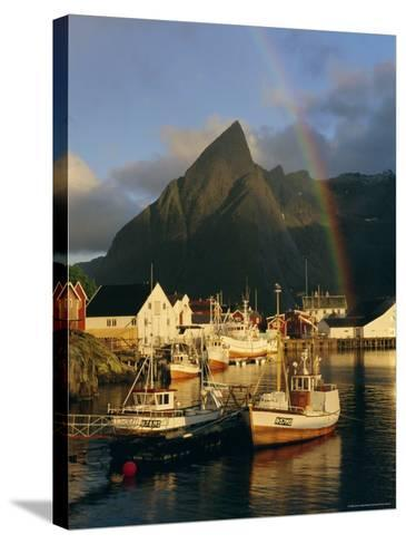 Rainbow Over Colourful Fishing Village of Hamnoy, Moskenesoya, Lofoten Islands, Nordland, Norway-Gavin Hellier-Stretched Canvas Print
