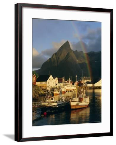 Rainbow Over Colourful Fishing Village of Hamnoy, Moskenesoya, Lofoten Islands, Nordland, Norway-Gavin Hellier-Framed Art Print