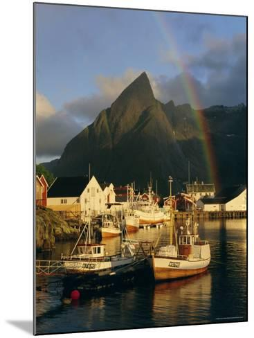 Rainbow Over Colourful Fishing Village of Hamnoy, Moskenesoya, Lofoten Islands, Nordland, Norway-Gavin Hellier-Mounted Photographic Print