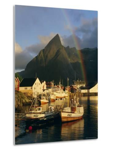 Rainbow Over Colourful Fishing Village of Hamnoy, Moskenesoya, Lofoten Islands, Nordland, Norway-Gavin Hellier-Metal Print