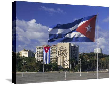 Cuban Flag Flying Outside the Ministerio Del Interior, Cuba, West Indies-Gavin Hellier-Stretched Canvas Print