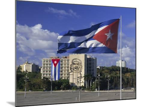 Cuban Flag Flying Outside the Ministerio Del Interior, Cuba, West Indies-Gavin Hellier-Mounted Photographic Print