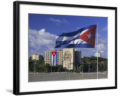 Cuban Flag Flying Outside the Ministerio Del Interior, Cuba, West Indies-Gavin Hellier-Framed Art Print