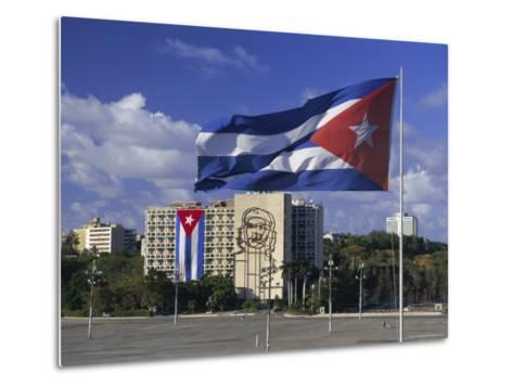 Cuban Flag Flying Outside the Ministerio Del Interior, Cuba, West Indies-Gavin Hellier-Metal Print