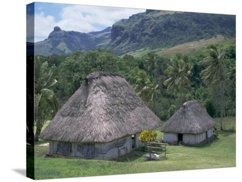 Traditional Houses, Bures, in the Last Old-Style Village, Fiji, South Pacific Islands-Anthony Waltham-Stretched Canvas Print