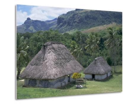 Traditional Houses, Bures, in the Last Old-Style Village, Fiji, South Pacific Islands-Anthony Waltham-Metal Print