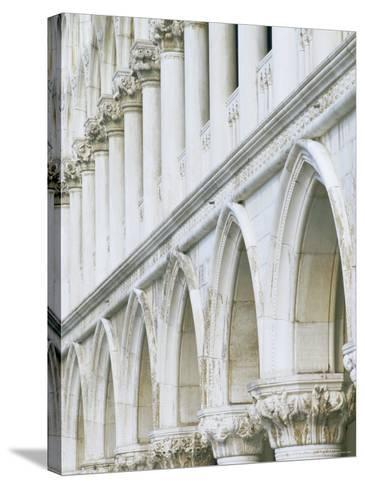 White Columns and Arches of Ducale Palace, St. Mark's Square, Venice, Veneto, Italy-Lee Frost-Stretched Canvas Print