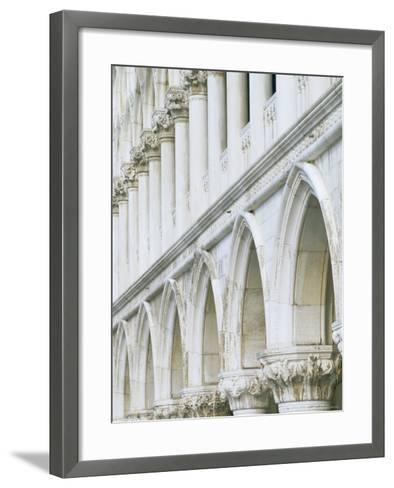 White Columns and Arches of Ducale Palace, St. Mark's Square, Venice, Veneto, Italy-Lee Frost-Framed Art Print