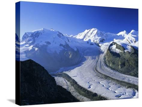 View to Monte Rosa, Liskamm and the Gorner Glacier, Gomergrat, Swiss Alps, Switzerland-Ruth Tomlinson-Stretched Canvas Print