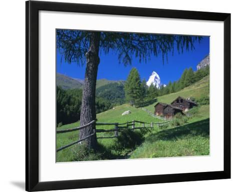 The Matterhorn Towering Above Green Pastures and Wooden Huts, Swiss Alps, Switzerland-Ruth Tomlinson-Framed Art Print