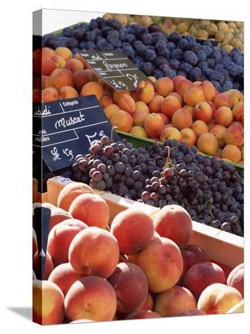 Fruit, Peaches and Grapes, for Sale on Market in the Rue Ste. Claire, Rhone-Alpes, France-Ruth Tomlinson-Stretched Canvas Print