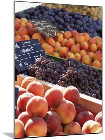 Fruit, Peaches and Grapes, for Sale on Market in the Rue Ste. Claire, Rhone-Alpes, France-Ruth Tomlinson-Mounted Photographic Print