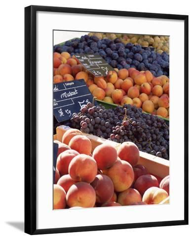 Fruit, Peaches and Grapes, for Sale on Market in the Rue Ste. Claire, Rhone-Alpes, France-Ruth Tomlinson-Framed Art Print