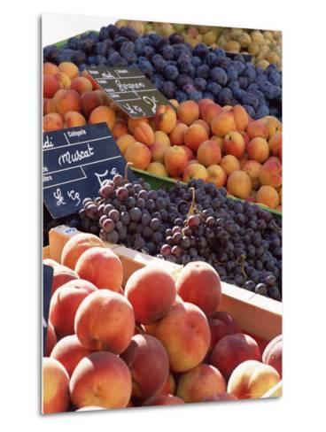 Fruit, Peaches and Grapes, for Sale on Market in the Rue Ste. Claire, Rhone-Alpes, France-Ruth Tomlinson-Metal Print