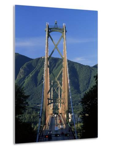 View Northwards Over the Lions Gate Bridge from Stanley Park, Vancouver, British Columbia, Canada-Ruth Tomlinson-Metal Print