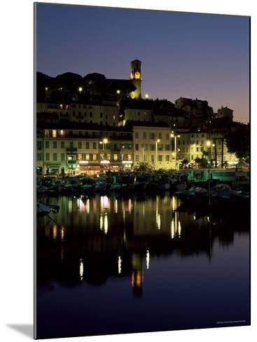 View Across Harbour to the Old Quarter of Le Suquet, at Night, Cannes, French Riviera, France-Ruth Tomlinson-Mounted Photographic Print