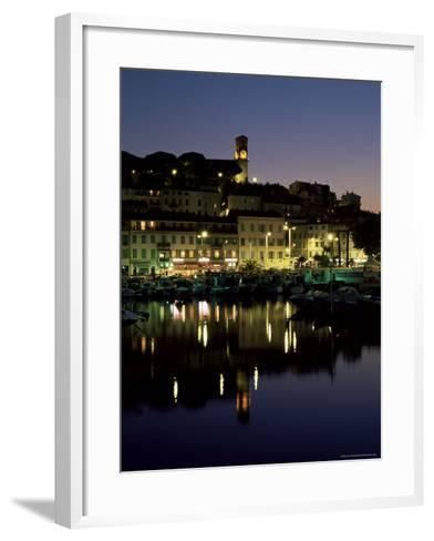 View Across Harbour to the Old Quarter of Le Suquet, at Night, Cannes, French Riviera, France-Ruth Tomlinson-Framed Art Print