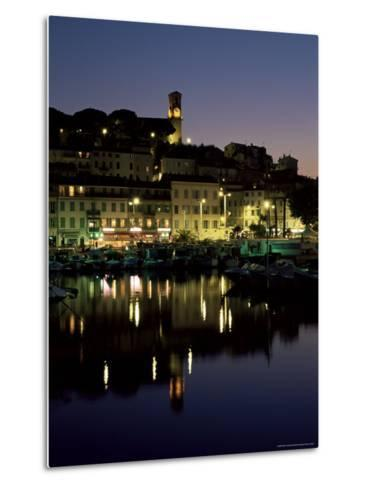 View Across Harbour to the Old Quarter of Le Suquet, at Night, Cannes, French Riviera, France-Ruth Tomlinson-Metal Print