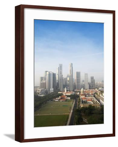 Singapore City Skyline at Dawn with the Padang and Colonial District in the Foreground, Singapore-Amanda Hall-Framed Art Print